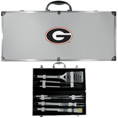 Georgia Bulldogs 8 pc Stainless Steel BBQ Set w/Metal Case (SSKG)