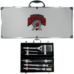 Maryland Terrapins 8 pc Stainless Steel BBQ Set w/Metal Case (SSKG)