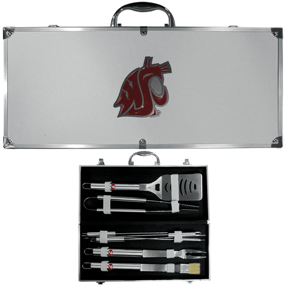 Washington St. Cougars 8 pc Stainless Steel BBQ Set w/Metal Case (SSKG) - 757 Sports Collectibles