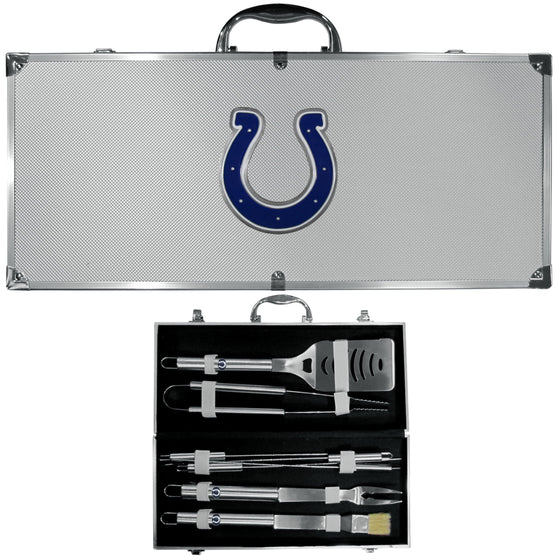 Indianapolis Colts 8 pc Stainless Steel BBQ Set w/Metal Case (SSKG) - 757 Sports Collectibles