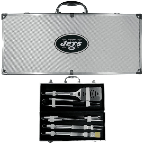 New York Jets 8 pc Stainless Steel BBQ Set w/Metal Case (SSKG)
