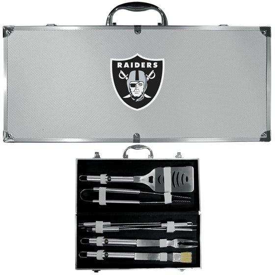 Oakland Raiders 8 pc Stainless Steel BBQ Set w/Metal Case (SSKG)