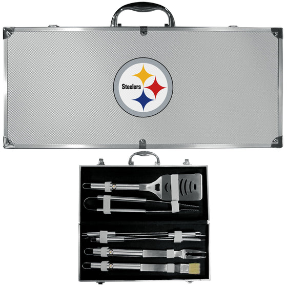 Pittsburgh Steelers 8 pc Stainless Steel BBQ Set w/Metal Case (SSKG) - 757 Sports Collectibles