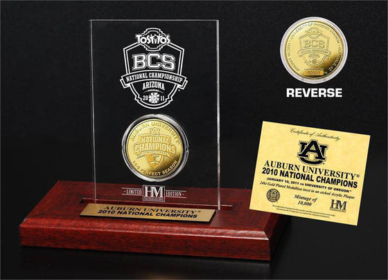 24KT Gold BCS Champions Coin in Etched Acrylic Display (HM)