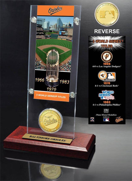 Baltimore Orioles World Series Ticket & Bronze Coin Acrylic Desktop (HM)