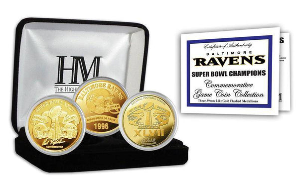 Baltimore Ravens 2-time Super Bowl Champions Gold Game Coin Set (HM)