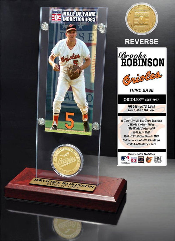 "Baltimore Orioles Brooks Robinson ""Hall of Fame"" Ticket & Bronze Coin Acrylic Desk Top (HM)"