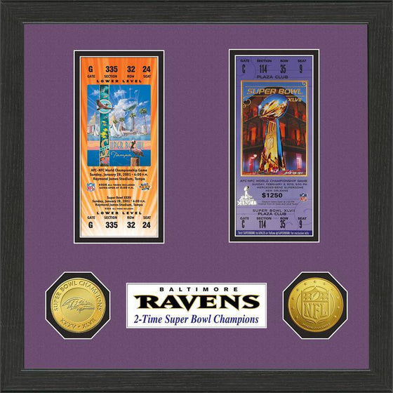 NFL Baltimore Ravens 2- Time Super Bowl Champions Framed Tickets w/ Collectible Coins