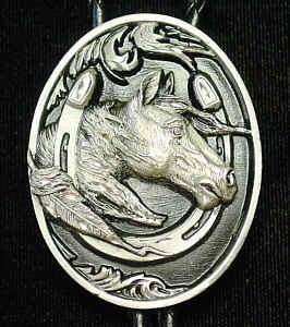 Large Bolo - Horse head in Horseshoe (Diamond Cut) (SSKG) - 757 Sports Collectibles