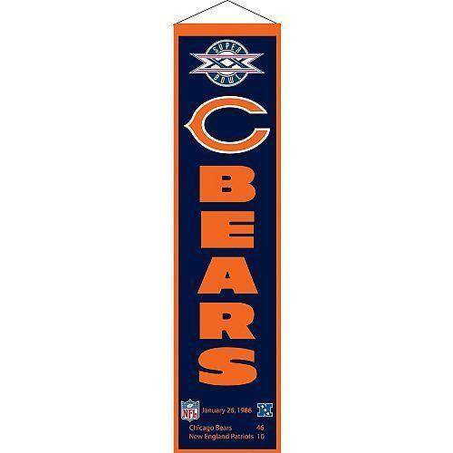 "Chicago Bears Heritage Banner Super Bowl XX 20 Embroidered Wool 8""x32"""