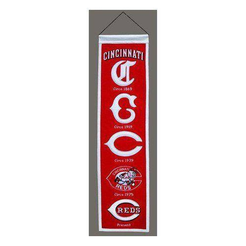 "Cincinnati Reds Heritage Banner 8""x32"" Wool Embroidered"