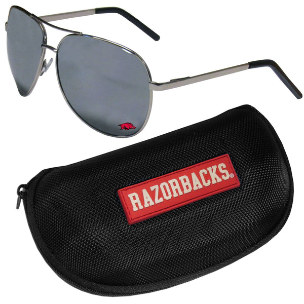 Arkansas Razorbacks Aviator Sunglasses and Zippered Carrying Case (SSKG)