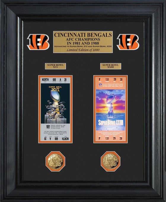 Cincinnati Bengals Super Bowl Ticket and Game Coin Collection Framed (HM) - 757 Sports Collectibles