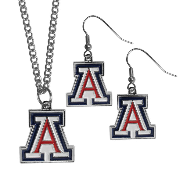 Arizona Wildcats Dangle Earrings and Chain Necklace Set (SSKG)