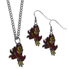Arizona St. Sun Devils Dangle Earrings and Chain Necklace Set (SSKG)