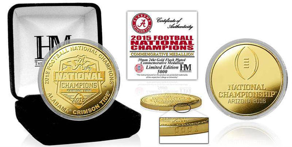 Alabama Crimson Tide 2015 College Football National Champions Gold Mint Coin (HM)
