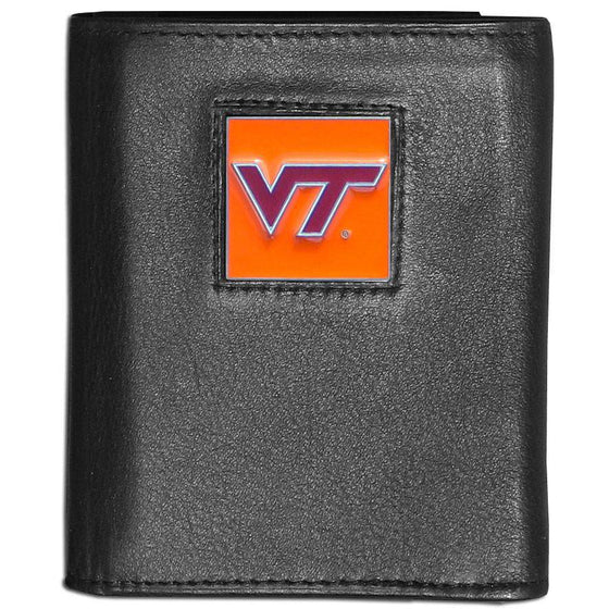 Virginia Tech Hokies Black Leather Wallet with Inside Canvas Liner