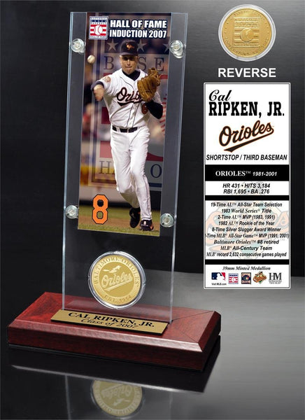 "Baltimore Orioles Cal Ripken Jr. ""Hall of Fame"" Ticket & Bronze Coin Acrylic Desk Top (HM)"