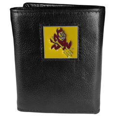 Arizona St. Sun Devils Deluxe Leather Tri-fold Wallet Packaged in Gift Box (SSKG)