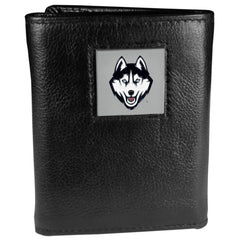 UCONN Huskies Deluxe Leather Tri-fold Wallet Packaged in Gift Box (SSKG)