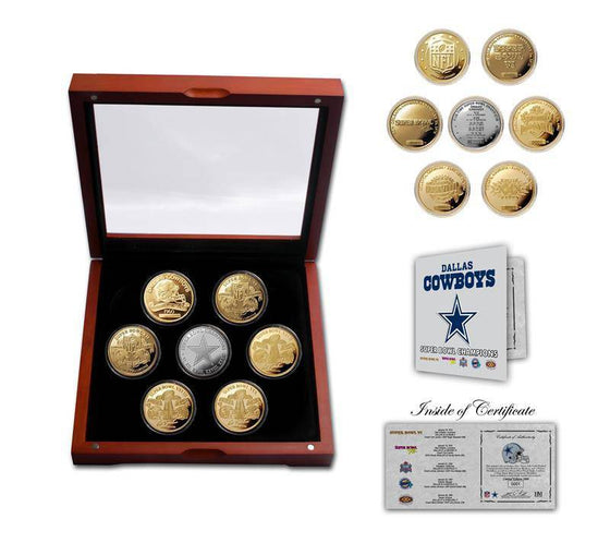 Dallas Cowboys 5-Time Super Bowl Champions 5 Coin Gold and Silver Coin Set (HM) - 757 Sports Collectibles