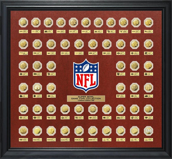 "NFL Super Bowl Gold ""Flip Coin"" Collection (53 Coin Set Framed)"