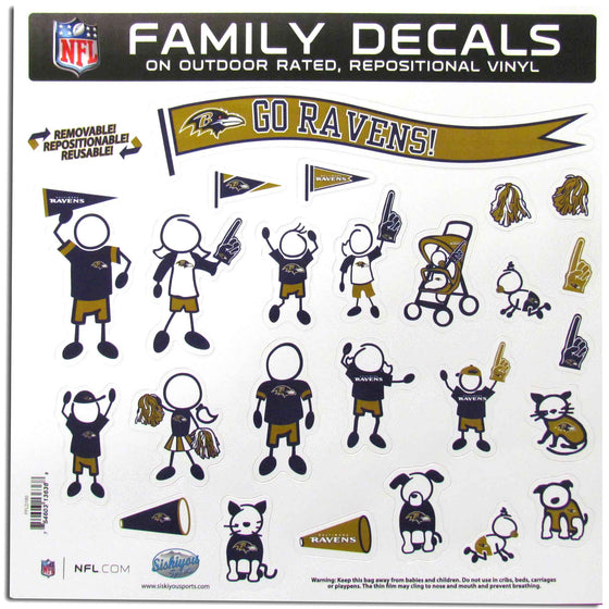 Baltimore Ravens Family Decal Set Large (SSKG) - 757 Sports Collectibles
