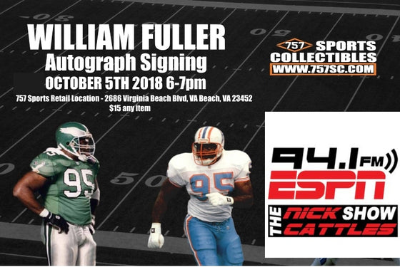 Philadelphia Eagles, Houston Oilers, and UNC Tarheels Great William Fuller Public Autograph Signing