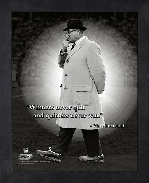 NFL Green Bay Packers Vince Lombardi Framed 11x14 Pro Quotes Never Quit - 757 Sports Collectibles