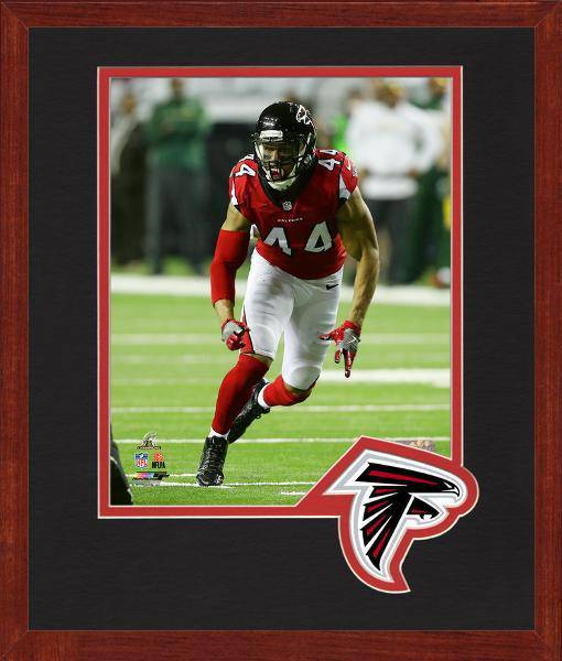 Atlanta Falcons Vic Beasley 2016 NFC Championship Team Logo Matting Framed 8x10 Photo (Cherry)