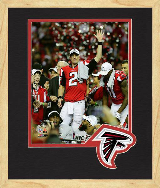 Atlanta Falcons Matt Ryan 2016 NFC Championship Team Logo Matting Framed 8x10 Photo (Maple)