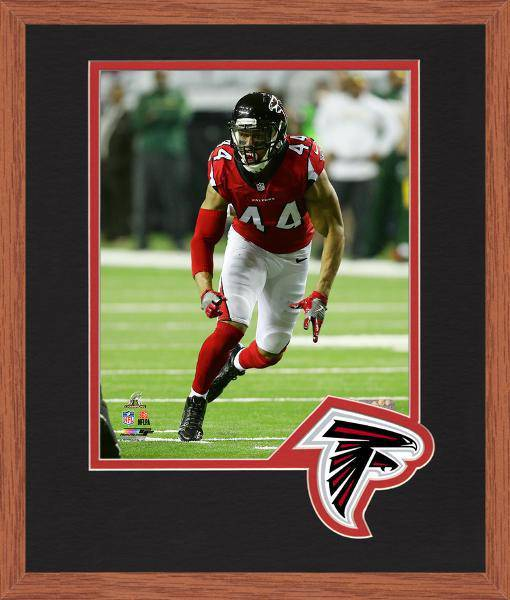 Atlanta Falcons Vic Beasley 2016 NFC Championship Team Logo Matting Framed 8x10 Photo (Oak)