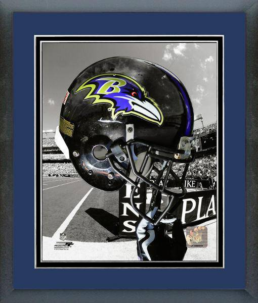 Baltimore Ravens Framed 11x14 Helmet Photo #2 w/ Team Color Matting