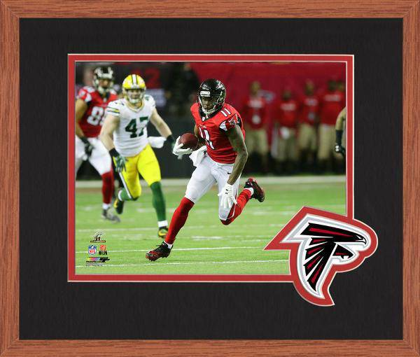 Atlanta Falcons Julio Jones 2016 NFC Championship Team Logo Matting Framed 8x10 Photo (Oak)