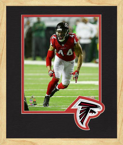 Atlanta Falcons Vic Beasley 2016 NFC Championship Team Logo Matting Framed 8x10 Photo (Maple)