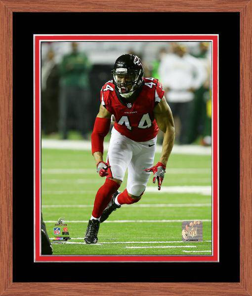 Atlanta Falcons Vic Beasley 2016 NFC Championship Team Color Matting Framed 11x14 Photo (Oak)
