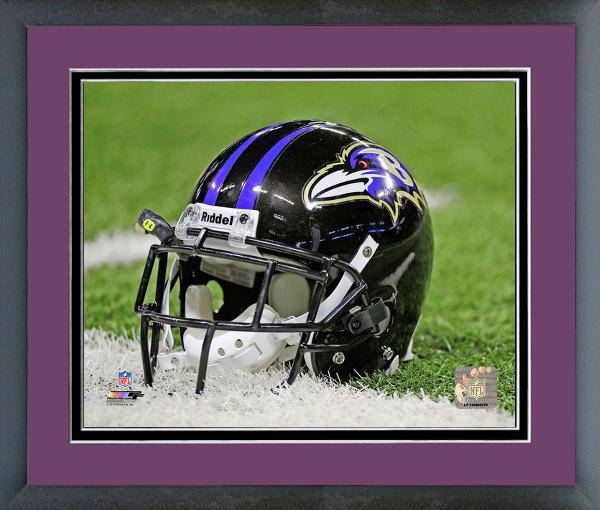 Baltimore Ravens Framed 11x14 Helmet Photo w/ Team Color Matting