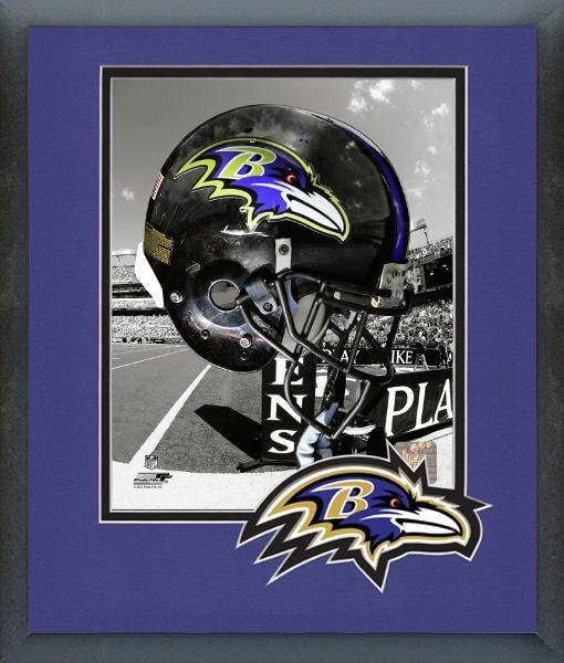Baltimore Ravens Framed 8x10 Helmet Photo #2 w/ Team Logo Matting