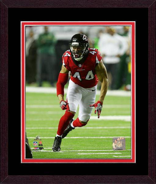 Atlanta Falcons Vic Beasley 2016 NFC Championship Team Color Matting Framed 20x24 Photo (Mahogany)