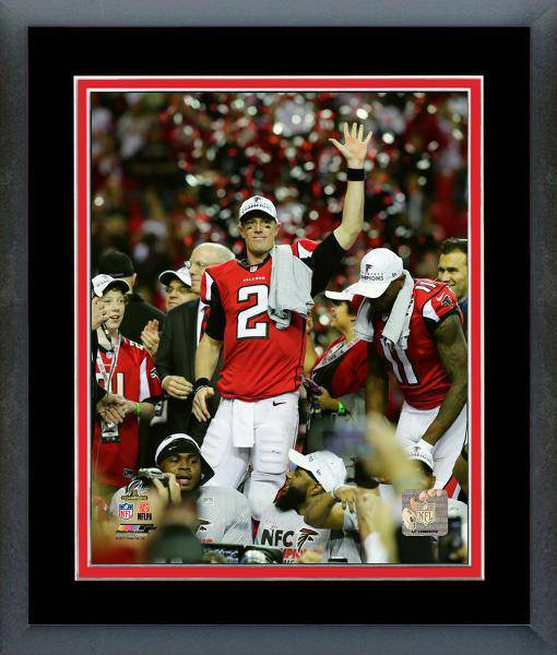 Atlanta Falcons Matt Ryan 2016 NFC Championship Team Color Matting Framed 11x14 Photo (Black)
