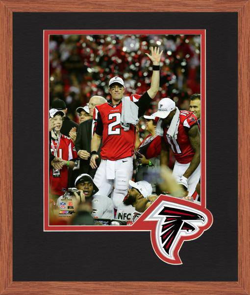 Atlanta Falcons Matt Ryan 2016 NFC Championship Team Logo Matting Framed 8x10 Photo (Oak)