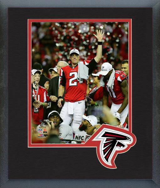 Atlanta Falcons Matt Ryan 2016 NFC Championship Team Logo Matting Framed 8x10 Photo (Black)