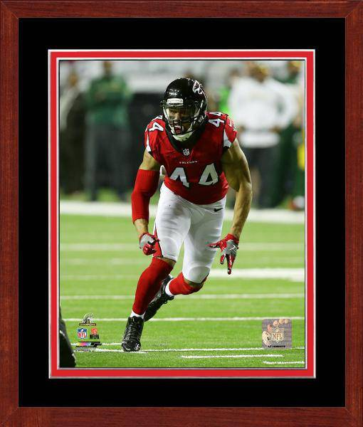 Atlanta Falcons Vic Beasley 2016 NFC Championship Team Color Matting Framed 20x24 Photo (Cherry)