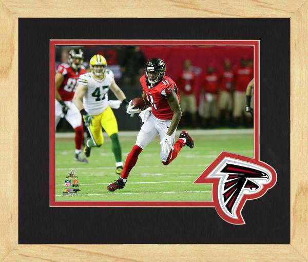 Atlanta Falcons Julio Jones 2016 NFC Championship Team Logo Matting Framed 8x10 Photo (Maple)