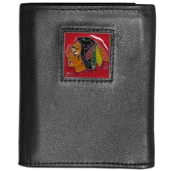 Chicago Blackhawks Black Leather Wallet with Inside Canvas Liner - 757 Sports Collectibles