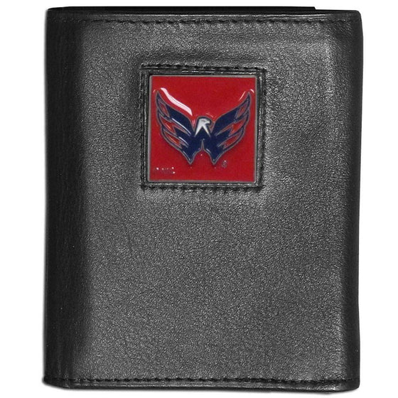 Washington Capitals Black Leather Wallet with Inside Canvas Liner