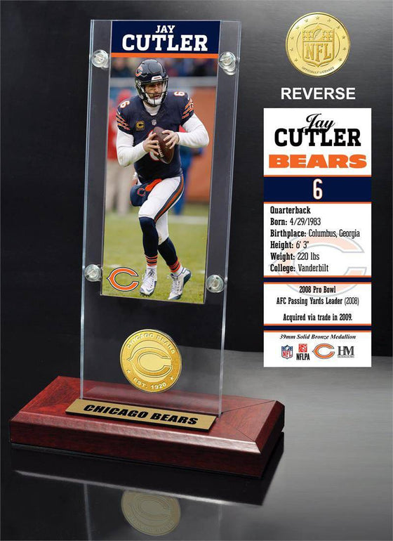 Chicago Bears Jay Cutler Ticket & Bronze Coin Ticket Acrylic (HM) - 757 Sports Collectibles