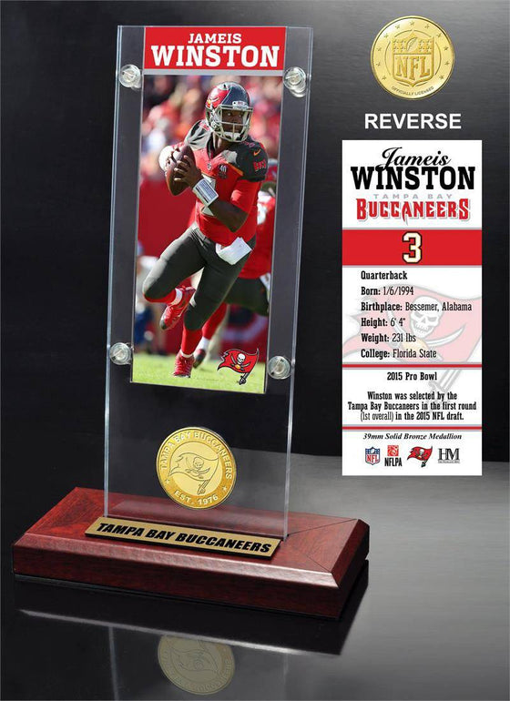 Tampa Bay Bucs Jameis Winston Ticket & Bronze Coin Ticket Acrylic (HM)