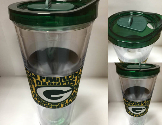 NFL Green Bay Packers 22 oz Slider Tumbler Wrap with Lid