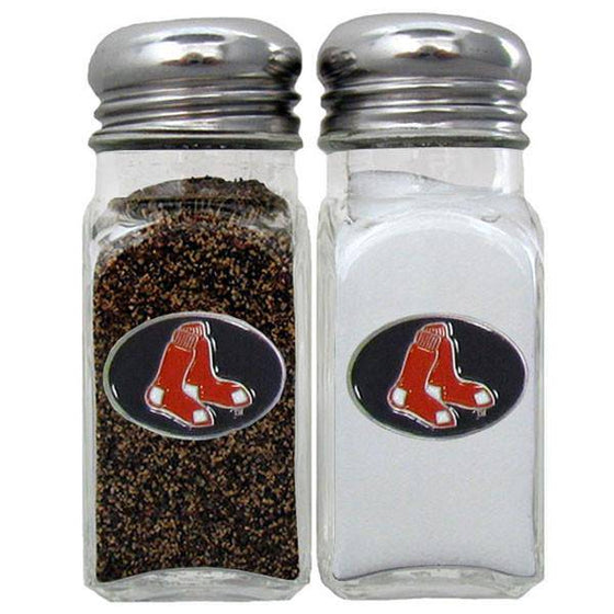 MLB Boston Red Sox Salt & Pepper Shakers Glass w/ Metal Top - 757 Sports Collectibles